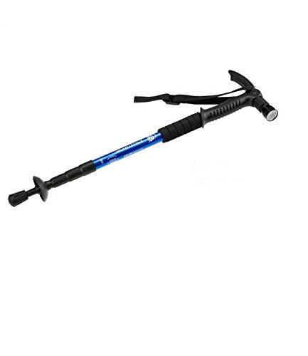 Anti shock Metal Aluminum  Hiking Trail Pole Trekking Stick Adjustable Walking Stick with  LED Flashlight Blue