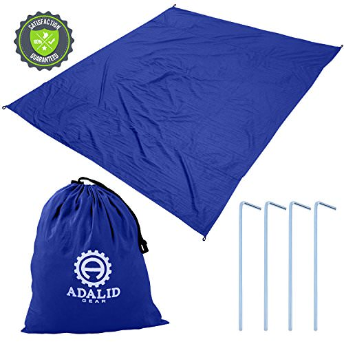 Beach Blanket with Accessories Nylon Tote Pouch  Stakes Pegs Also Used as Outdoor Camping Gear Oversized Mat Shade Tarp and Picnic Throw