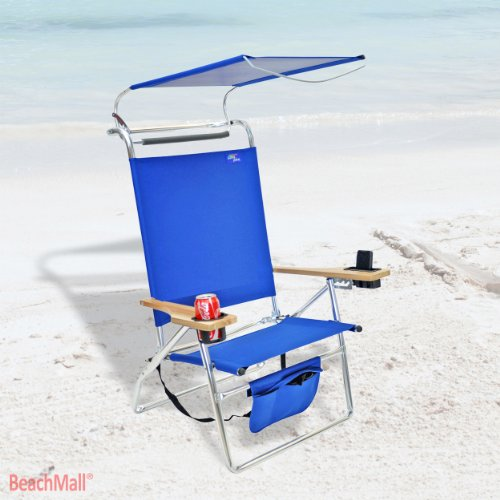 Superb Deluxe 4 Position Aluminum Beach Chair W Canopy Storage Pouch Home Interior And Landscaping Ferensignezvosmurscom