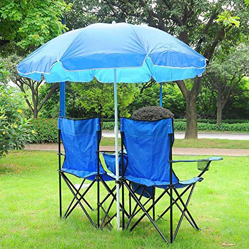 Double Camping Folding Chair and Umbrella