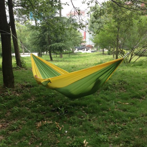 Enjoydeal Portable Parachute Nylon Fabric Travel Camping Hammock For Double Two Person Green Yellow