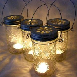 Four Glass Quilted Mason Jar Lanterns Candle Holder Outdoor Lighting