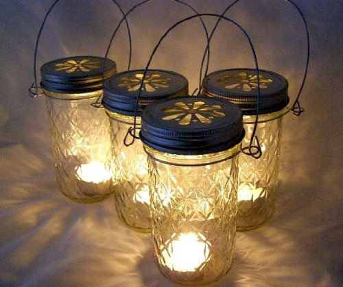 Four Glass Quilted Mason Jar Lanterns Candle Holder Outdoor Lighting 0