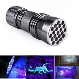 LingsFire® 21 LED UV Ultra Violet Blacklight Pocket Flashlight for Spotting Scorpions and Bed Bugs, Counterfeits, A/C Leaks, Pet Stains, Counterfeit Money Detector and Detect Fluorescent Substance (battery not included)