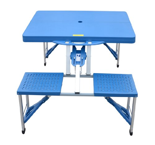 outsunny outdoor portable folding camp suitcase picnic table with 4 seats blue camp stuffs. Black Bedroom Furniture Sets. Home Design Ideas