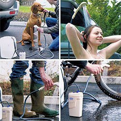 Portable Shower v Runs Off Batteries or Car Cigarette Lighter