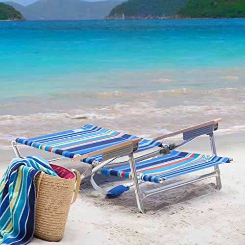 Rio Brands 5 Position Classic Lay Flat Beach Chair Camp