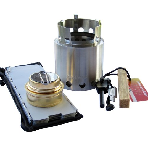 Solo Stove Pro Camping Stove Kit Includes Solo Stove Windscreen Solo Alcohol Burner Swedish FireSteel Tinder on a Rope Great for Backpacking Survival Emergency Preparation
