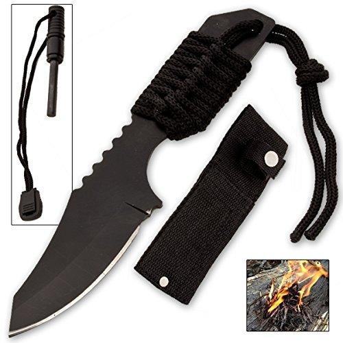 Szco Supplies Tanto Survivor Fire starter Knife Black