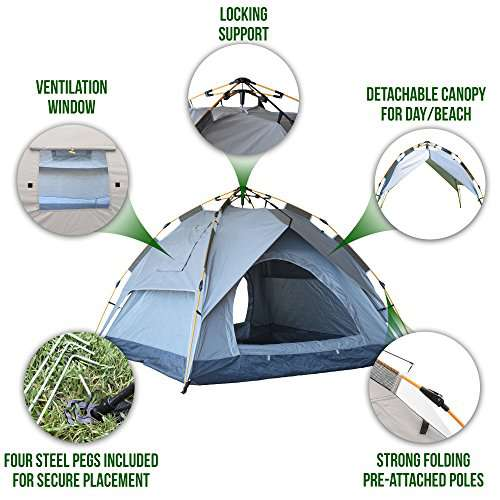 Eagletail Outdoor Instant Tent with Canopy; 3-Person ...  sc 1 st  C&stuffs & Eagletail Outdoor Instant Tent with Canopy; 3-Person Automatic ...