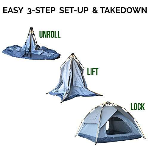 Eagletail Outdoor Instant Tent ...  sc 1 st  C&stuffs & Eagletail Outdoor Instant Tent with Canopy; 3-Person Automatic ...