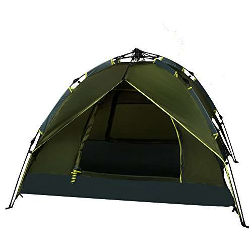 Ancheer Camping Tent Army Green Double Layers   Person Quick Pop Up Waterproof Hiking Portable Tent