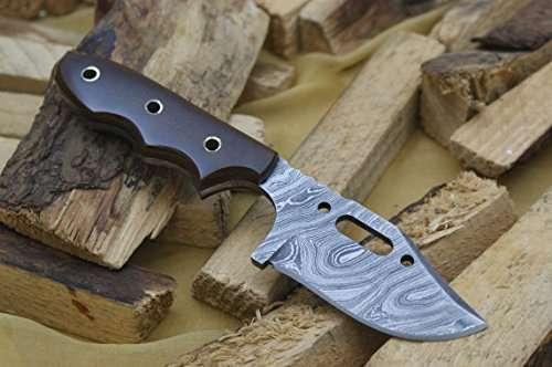 Knife King Damascus hunting bowie knife Micarta handleRazor sharp Solid quality hunterComes with a sheath