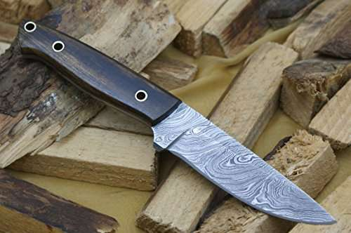 Knife King Damascus hunting bowie knife Wood handleRazor sharp Solid quality hunterComes with a sheath