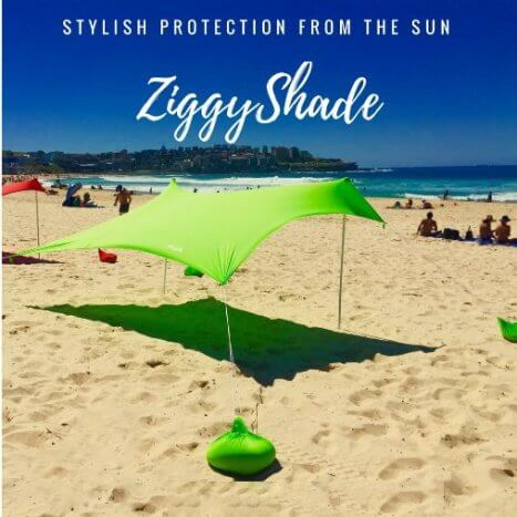 Ziggy Shade Beach Tent - Beach SunShade ZiggyShade With Sandbag Anchors & Ziggy Shade Beach Tent - Beach SunShade ZiggyShade